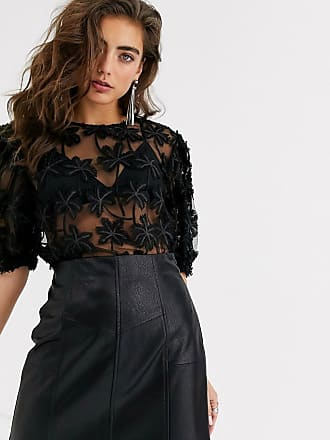 Object embroidered organza top in black