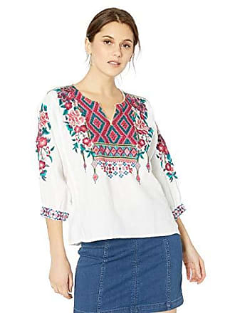 Johnny Was Womens Boxy Peasant Blouse with Embroidery, White, M