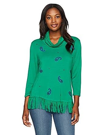 Ruby Rd. Womens Silky French Terry Fringe Pull-Over with Paisley Beading, Kelly Green, Large