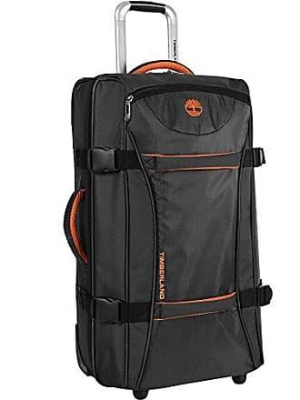 Timberland Wheeled Duffle Bag - 26 Inch Lightweight Rolling Luggage Travel Bag Suitcase for Men, Black/Burnt Orange