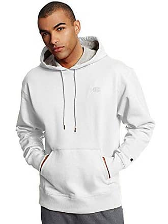 Champion Mens Powerblend Pullover Hoodie, White, Large