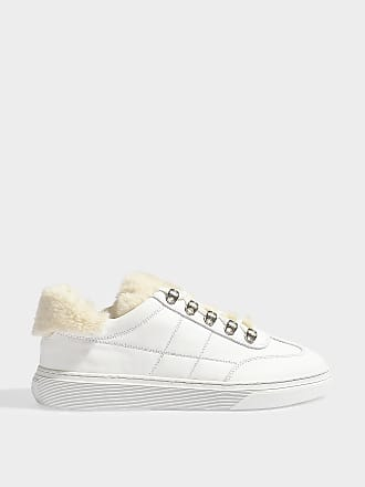 8fc9b080fffe Hogan Sneaker H365 mit Fake Fur Details aus glattem, weißem und beigem  Kalbsleder