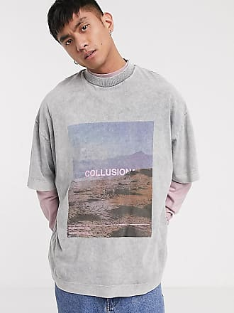 Collusion Graues Extreme Oversize-T-Shirt mit Fotoprint in Acid-Waschung