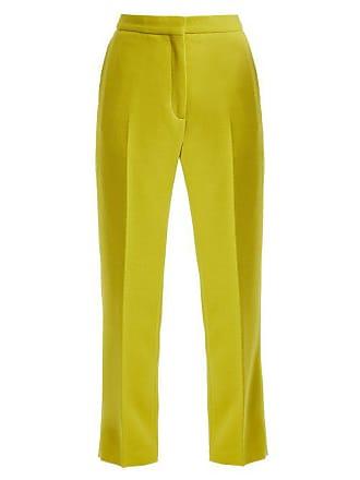 Rochas Straight Leg Wool Crepe Trousers - Womens - Light Green