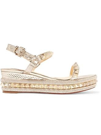 fb55671f2586 Christian Louboutin Pyraclou 60 Spiked Textured-leather Wedge Sandals - Gold