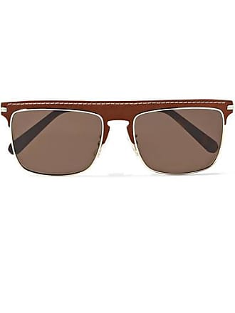 Loewe D-frame Gold-tone And Textured-leather Sunglasses - Brown