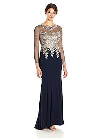 Xscape Womens Long Gown with Emb/Bead Top and Illusion Sleeves, Navy/Gold, 2