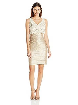 3eafe56e London Times Womens Petite Shimmer Shutter Sheath Dress with Crop Lace  Overlay, Champagne, 8P