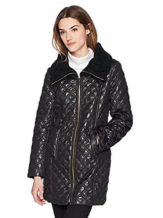 Via Spiga Womens Lightweight Quilted Jacket with Knit Collar, Black, Small