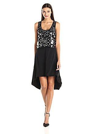 Karen Kane Womens Silver Sequin Hi-Lo Dress, Black, Medium