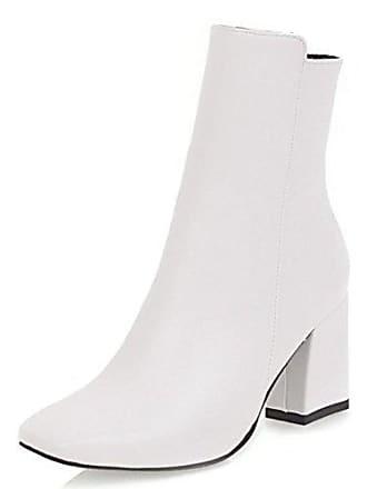 4b63d15ec3f190 Aisun Damen Modern Quadratisch Zehen Kurzschaft Blockabsatz Reißverschluss  Ankle Boots Stiefel Weiß 35 EU