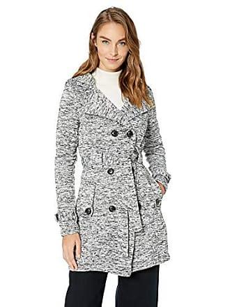 Yoki Womens Double Breast Long Fleece Jacket, Heather Grey Sweater, Medium