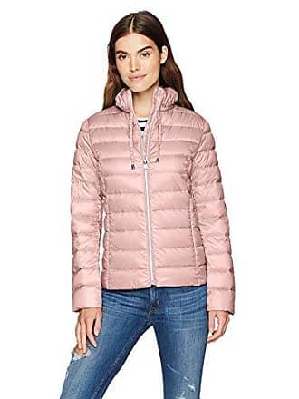 Via Spiga Womens Ruffle Detail Stand Collar Lightweight Packable Down Coat, Rose, Large