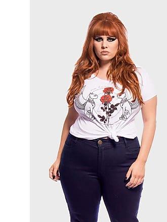 Vintage & Cats Camiseta Gatos com Rosas Plus Size Branco-50