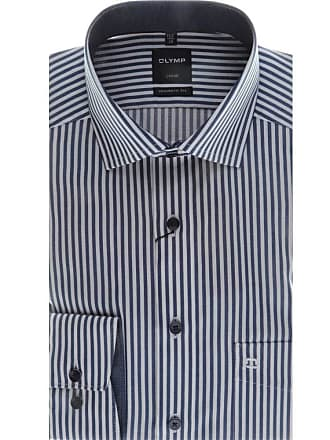 Olymp Luxor Modern Fit Stripe Long Sleeve Shirt - Marine/White 16.5 (42cm) Marine/White