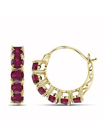 JewelersClub JewelersClub 4 Carat T.G.W. Ruby 14kt Gold Over Silver Hoop Earrings