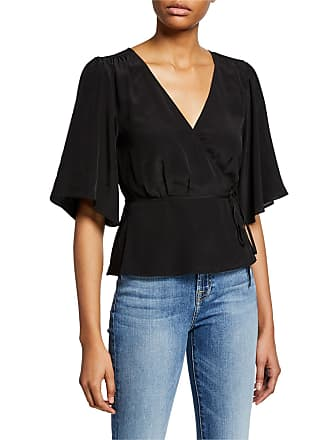 7 For All Mankind Wrap-Front Silk Top