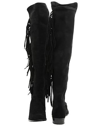 5d5de8a8ac4 Stuart Weitzman Fringed Boots In Black Suede And Stretch Size 40fr