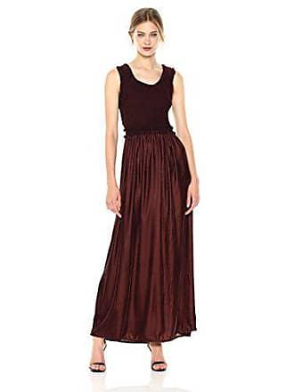 Max Studio Womens Smocked Top Sleeveless Dress with Velvet Bodice, Bordeaux, Small