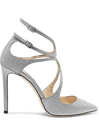 Jimmy Choo London Lancer 100 Glittered Leather Pumps - Silver
