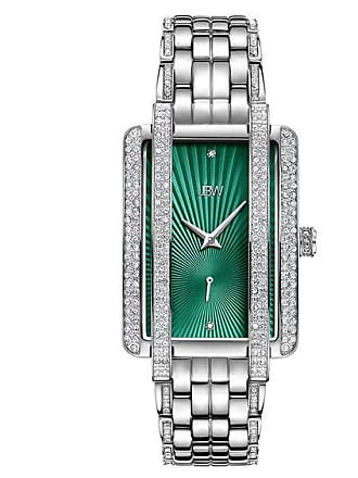 Zales Ladies JBW Mink 1/8 CT. T.w. Diamond and Crystal Watch with Rectangular Green Dial (Model: J6358A)