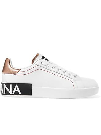 02bcf1536460 Dolce   Gabbana Logo-embellished Metallic-trimmed Leather Sneakers - White