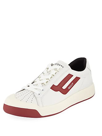 Bally Mens New Competition Retro Low-Top Sneakers, Red/White