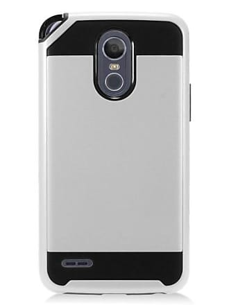 Mundaze Silver Brushed Metal Double Layered Case For LG Stylo 3 PLUS Phone