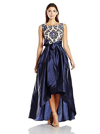 Adrianna Papell Womens Embroidered Lacetaffeta Ball Gown Petite, Navy/Nude, 8P