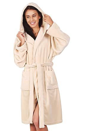 Decoking Bathrobe M Short Women Men Unisex Hooded Dressing Gown Microfibre  Soft Snug Cosy Fleece Beige db5406415a