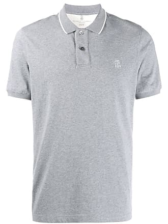 Brunello Cucinelli contrast trim polo shirt - Cinza