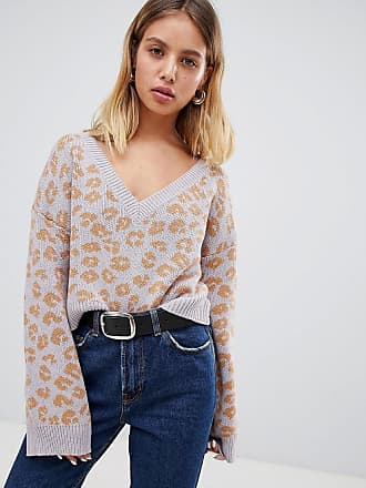 Wild Honey v neck sweater in leopard - Purple