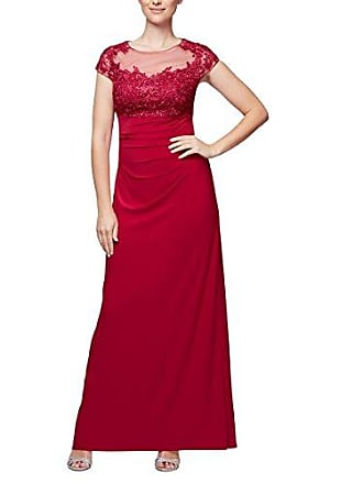 Alex Evenings Womens Empire Waist and Lace Ruched Dress (Petite and Regular), Raspberry, 10