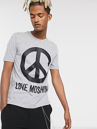 Love Moschino T-Shirt mit Peace-Logo-Grau