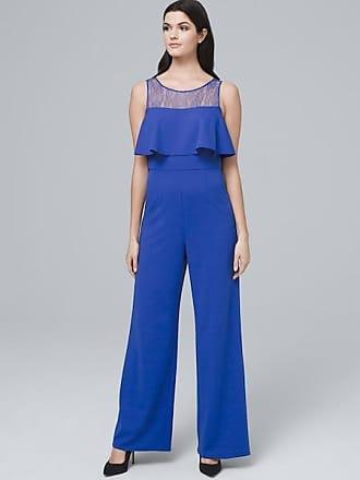 White House Black Market Womens Adrianna Papell Lace-Yoke Jumpsuit by White House Black Market, Adriatic Blue, Size 12