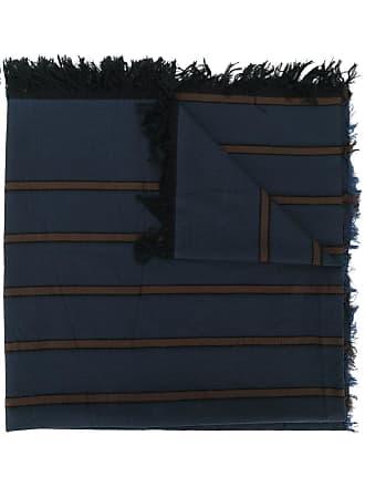 Uma Wang striped frayed edge scarf - Blue