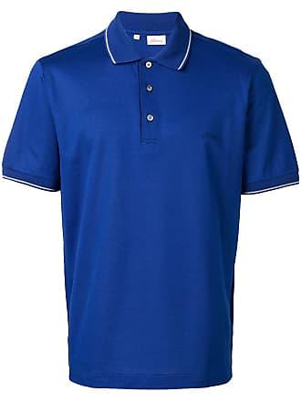 Brioni Camisa polo com logo - Azul