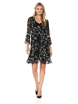Taylor Dresses Womens Etched Floral Fit and Flare Bell Sleeve Dress, Black/Beige, 8