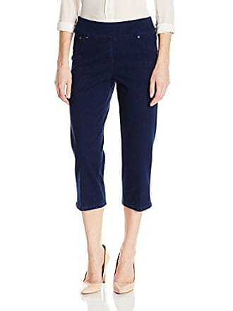 Ruby Rd. Womens Pull-on Indigo-Dyed Stretch Knitted Twill Cropped Capri, 14
