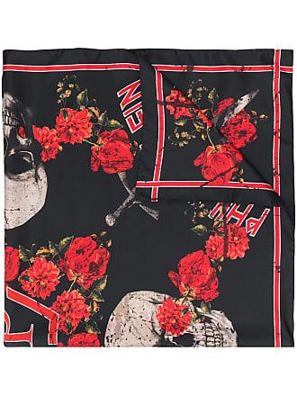 Philipp Plein Echarpe Roses de seda - Preto