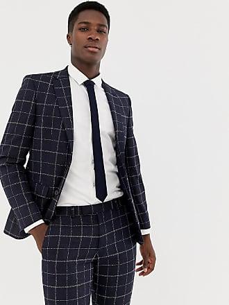 Moss London - Veste de costume slim à carreaux fins - Bleu marine 4d68434426b