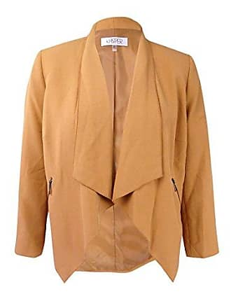 Kasper Womens Plus Size Flyaway Zipper Detail Jacket, Copper, 16W