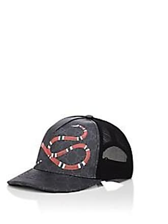 ff6284f9a93 Gucci Mens Snake-Print Coated Canvas   Mesh Trucker Hat - Black Size M