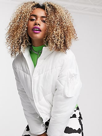 Collusion boxy puffer jacket in white