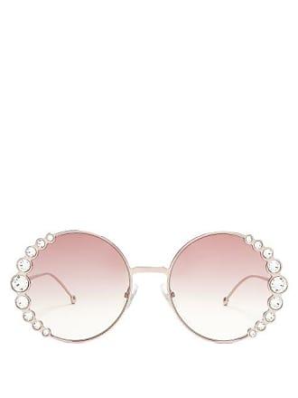 Fendi Crystal Embellished Round Frame Sunglasses - Womens - Pink