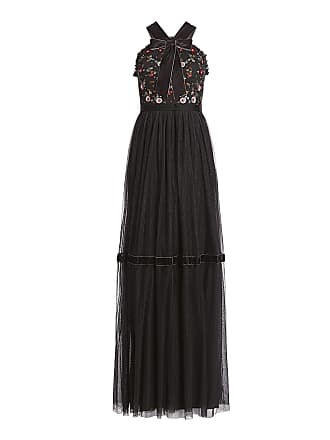 Needle & Thread Esther Bow Tie Ruffled Floral Embroidered Tulle Maxi Dress Black