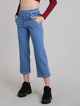 Sawary Calça Jeans Feminina Sawary Pantacourt com Faixa Azul Médio