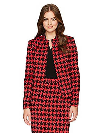 Kasper Womens Bold Houndstooth Flyaway Jacket, red/Black, 8
