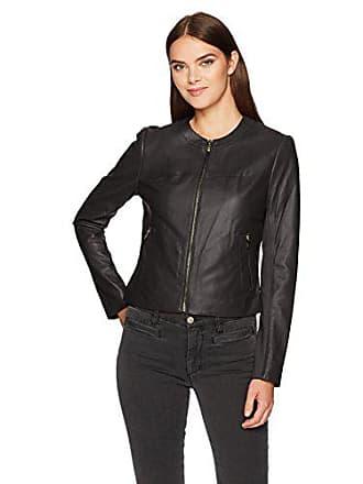 Via Spiga Womens Collarless Leather Jacket, Black/Ponte Back, Small