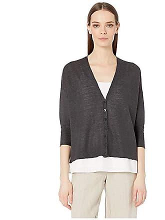 8fd234005c3 Eileen Fisher Organic Linen Knit V-Neck 3 4 Sleeve Short Cardigan (Graphite